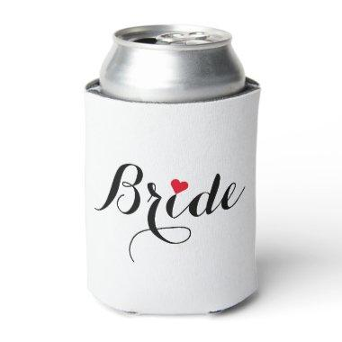 Elegant Script Heart Bride Can Cooler Cover Coozie