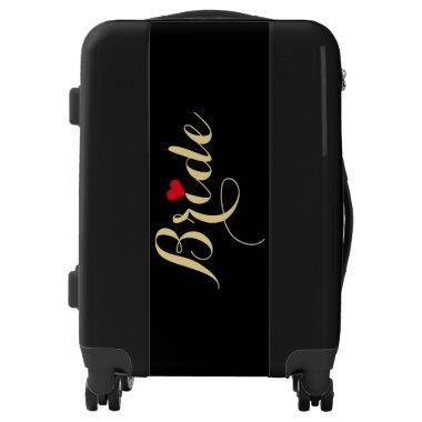 Elegant Script Heart Faux Gold Bride Travel Black Luggage