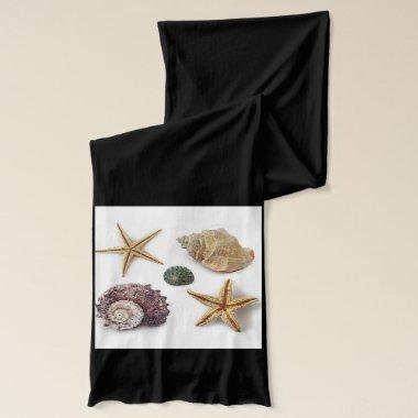 Elegant seashells shabby chic beach scarf