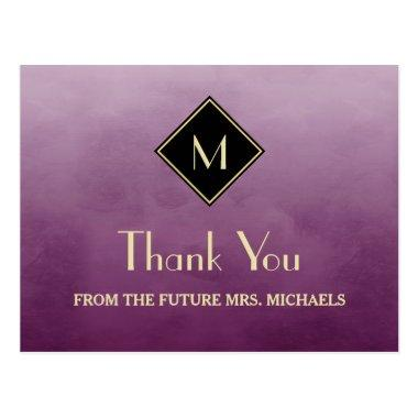 Elegant Simple Purple With Gold Monogram Thank You PostInvitations