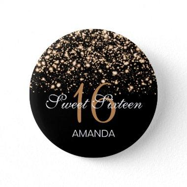Elegant Sweet 16 Birthday Midnight Glam Gold Button