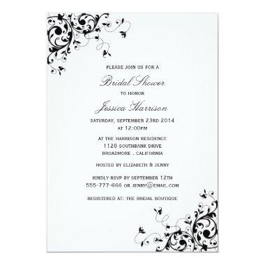 Elegant Swirls Black & White Bridal Shower Invitations