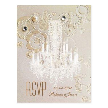 elegant swirls chandelier vintage wedding rsvp post