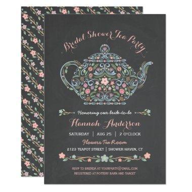 Elegant Teapot Bridal Shower Chalkboard Invitations