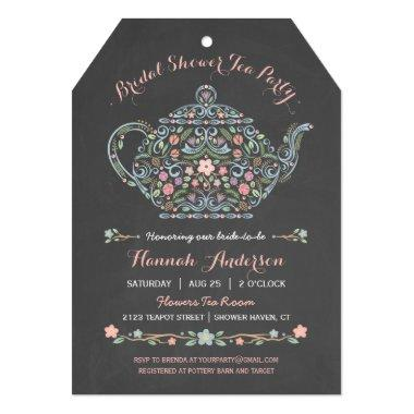 Elegant Teapot Bridal Shower Chalkboard Invitations