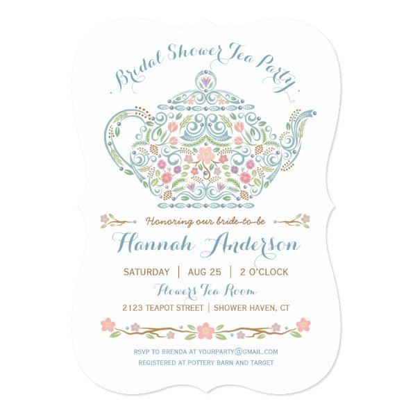 Teapot Bridal Shower Invitations