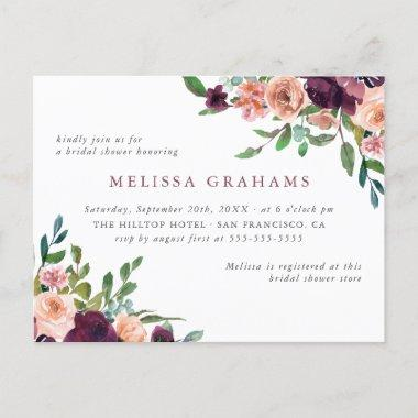 Elegant Typography Chic Floral Bridal Shower Invitation PostInvitations