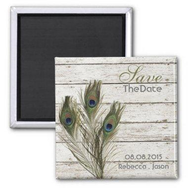 elegant vintage barnwood peacock save the date magnet