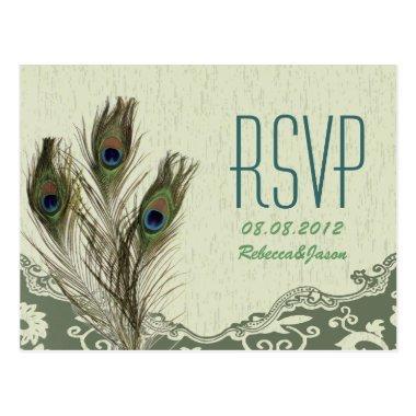 elegant vintage country green peacock wedding RSVP Post