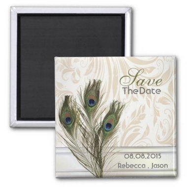 elegant vintage damask peacock save the date magnet