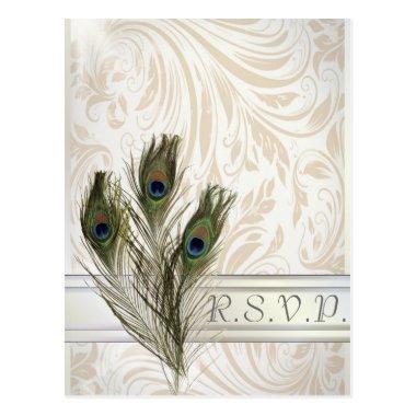 elegant vintage damask peacock wedding RSVP Post