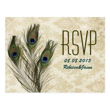 elegant vintage damask peacock wedding RSVP PostInvitations