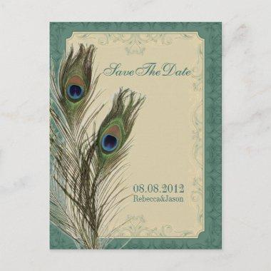 elegant vintage floral peacock Save the date Announcement PostInvitations