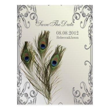 elegant vintage floral peacock Save the date Post