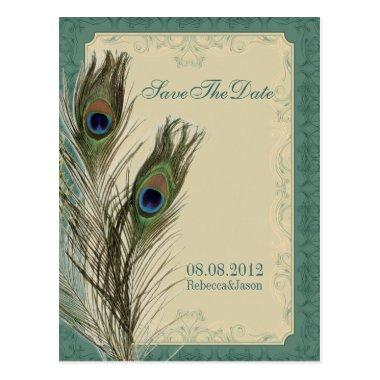 elegant vintage floral peacock Save the date PostInvitations