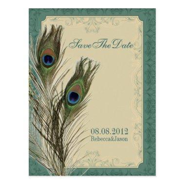 elegant vintage floral peacock Save the date Post