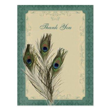 elegant vintage floral peacock wedding thank You PostInvitations