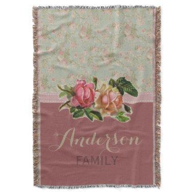 Elegant Vintage Floral Rose Family Name Throw Blanket