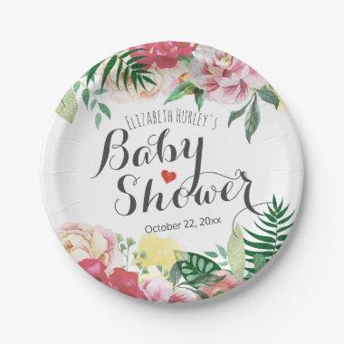 Elegant Watercolor Floral Baby /  Paper Plate
