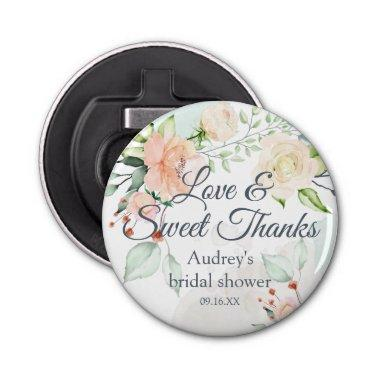 Elegant Watercolor Floral Love and Sweet Thanks Bottle Opener