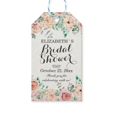 Elegant Watercolor Floral Wedding  Gift Tags