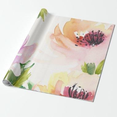Elegant Watercolor Flowers Wrapping Paper