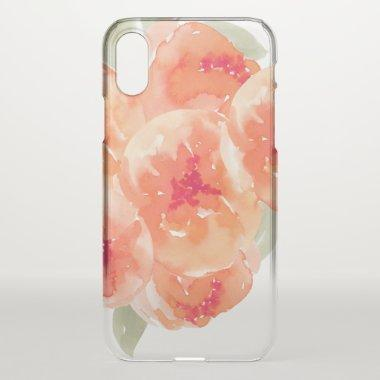Elegant Watercolor Peach Peonies Floral iPhone XS Case