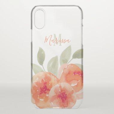 Elegant Watercolor Peach Peonies Monogram iPhone XS Case