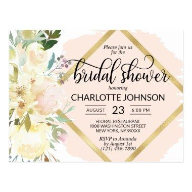 Elegant Watercolor Pink Floral Bridal Shower PostInvitations