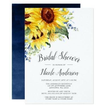 Elegant Watercolor Sunflowers Bridal Shower Invitations