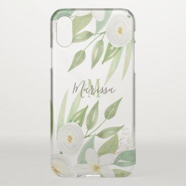 Elegant Watercolor White Floral Monogram iPhone XS Case