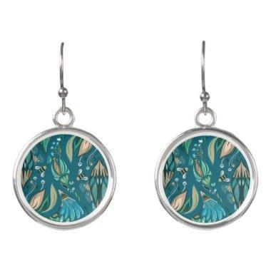 Elegant wedding floral rustic beautiful pattern earrings