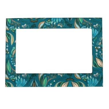 Elegant wedding floral rustic beautiful pattern magnetic frame