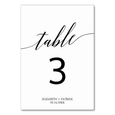 Elegant White and Black Calligraphy Table Number