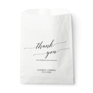 Elegant White and Black Calligraphy Thank You Favor Bag