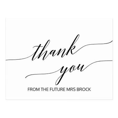Elegant White and Black Calligraphy Thank You PostInvitations