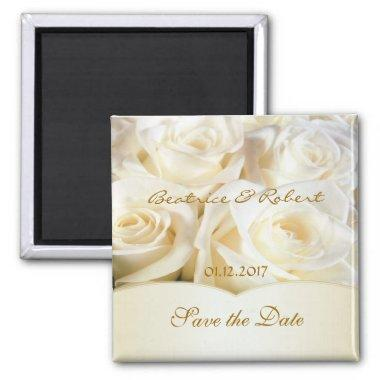 Elegant White - cream roses Save the date Magnet