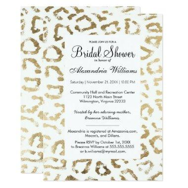 Elegant white faux gold animal print bridal shower Invitations