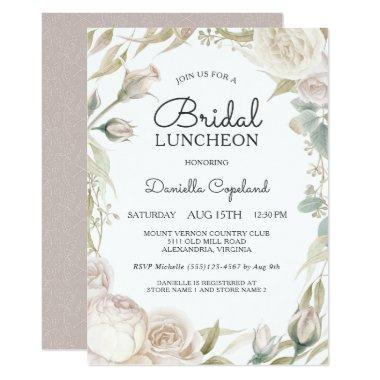 Elegant White Roses Bridal Luncheon Invitations