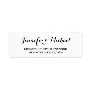 Elegant White Wedding Bridal Shower Return Address Label