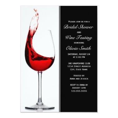 Elegant Wine Glass Bridal Shower Invitations