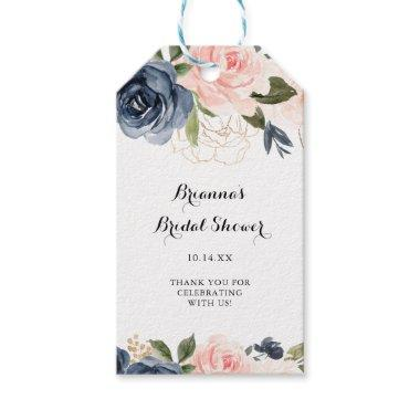 Elegant Winter Floral Calligraphy Bridal Shower Gift Tags