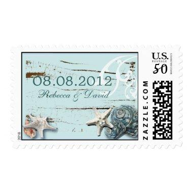 Elegant wood BLue Seashells Beach Wedding Postage