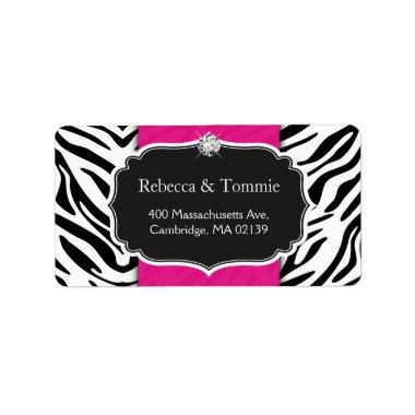 Elegant Zebra Print Hot Pink Wedding Baby Shower Label