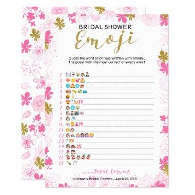 Emoji Pictionary Bridal Shower Game | Pink Floral