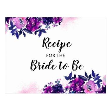 Enchanted Floral Purple Bridal Shower Recipe Invitations