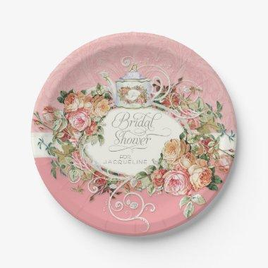 English Manor Vintage Rose Tea Party  Paper Plate