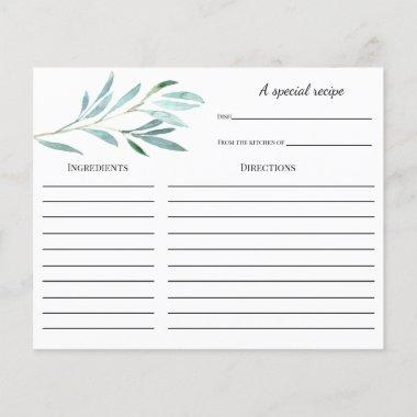 Eucalyptus Bridal Shower Recipe Invitations