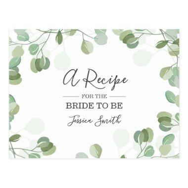 Eucalyptus Bridal Shower Recipe Invitations Greenery Boho