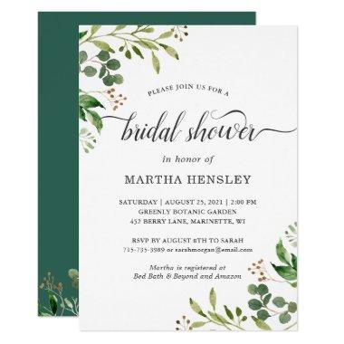 Eucalyptus Green Leaves Nature Look Bridal Shower Invitations